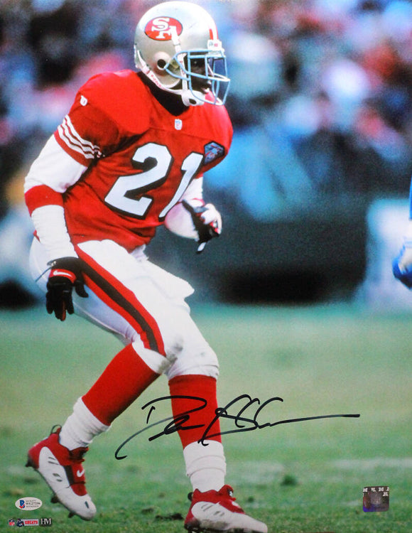 Deion Sanders Autographed SF 49ers 16x20 Backpedaling HM Photo- Beckett W *Black