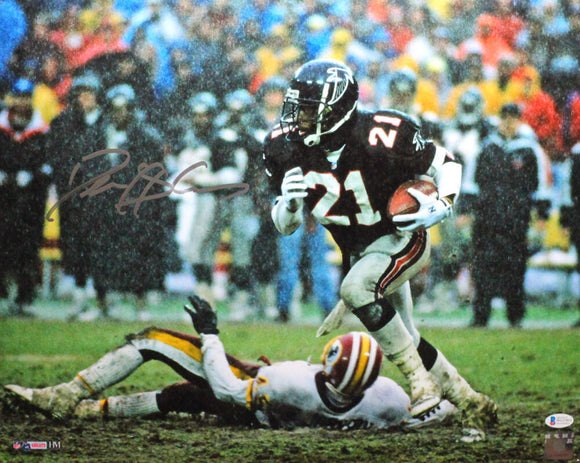 Deion Sanders Autographed Atlanta Falcons 16x20 Vs Washington HM Photo - Beckett W Auth *Silver