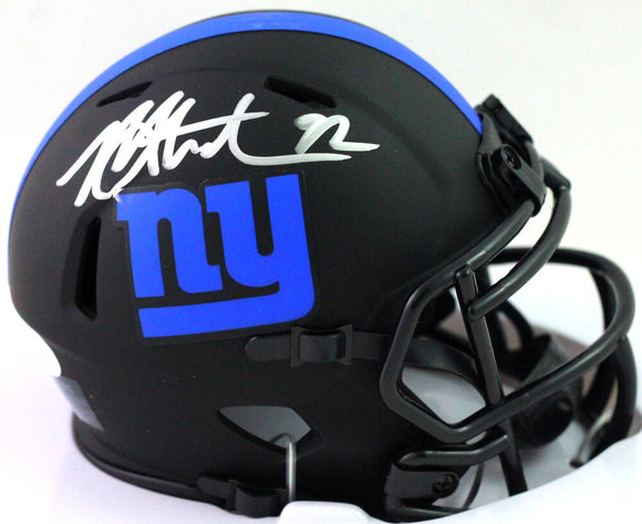 Michael Strahan Autographed New York Giants Eclipse Speed Mini Helmet - Beckett W Auth *SILVER