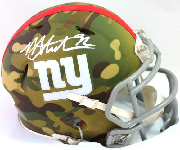 Michael Strahan Autographed New York Giants CAMO Speed Mini Helmet - Beckett W Auth *WHITE