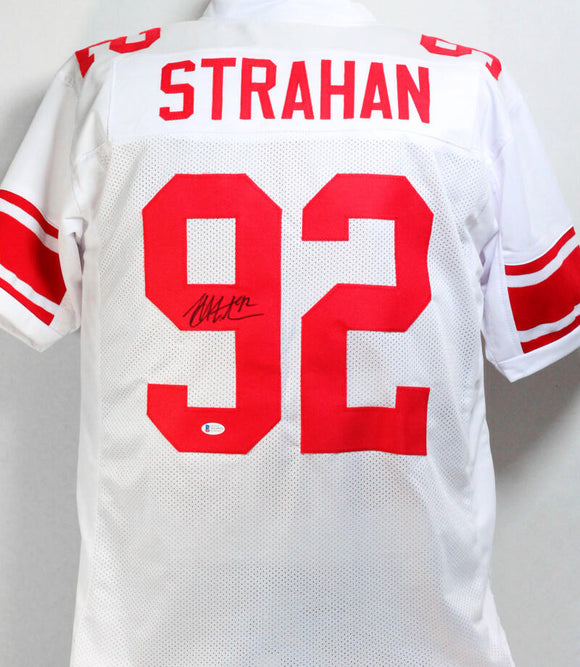 Michael Strahan Autographed White Pro Style Jersey- Beckett W Auth *9