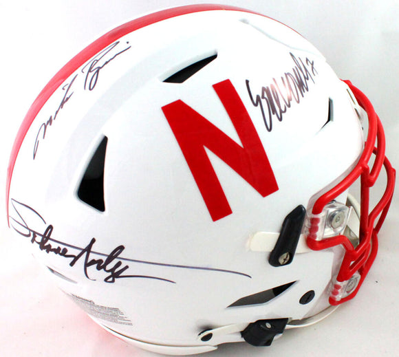 Nebraska Heisman Winners Autographed F/S SpeedFlex Authentic Helmet- JSA W *Black