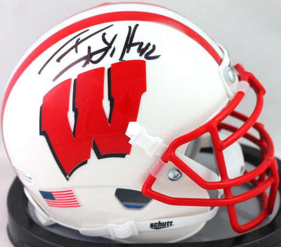 TJ Watt Autographed Wisconsin Badgers Mini Helmet- Beckett W *Black