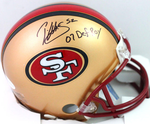Patrick Willis Signed 49ers 96-08 Mini Helmet w/ 07 Def Roy- Beckett W *Black