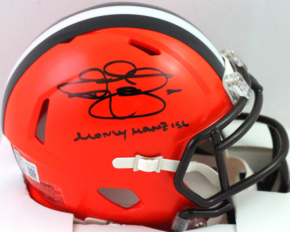 Johnny Manziel Autographed Browns Speed Mini Helmet w/ MM Insc- Beckett W *Black