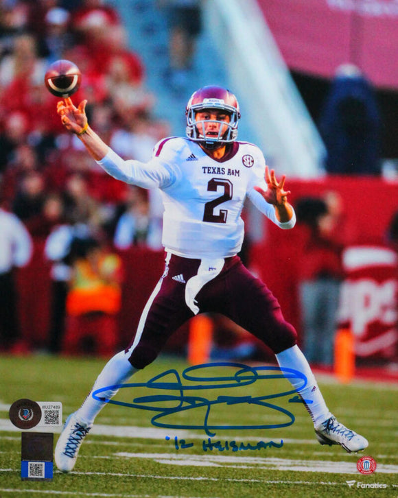 Johnny Manziel Signed Texas A&M 8x10 Passing FP Photo w 12 Heisman-BeckettW*Blue