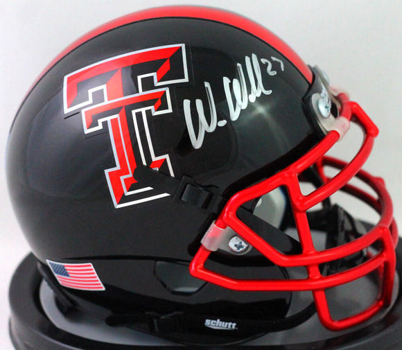 Wes Welker Autographed Texas Tech Chrome Mask Mini Helmet- Beckett W *Silver