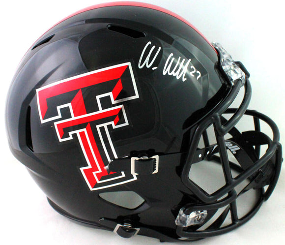 Wes Welker Autographed Texas Tech Full Size Speed Helmet- Beckett W *Silver