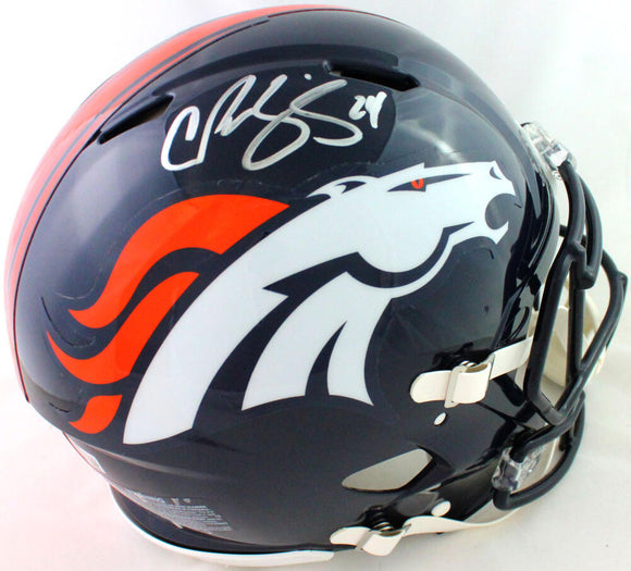 Champ Bailey Autographed Denver Broncos FS Speed Authentic Helmet- Beckett W*Sil