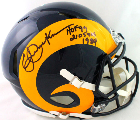 Eric Dickerson Autographed LA Rams FS Speed Authentic Helmet w/2 Insc- Beckett W*Black