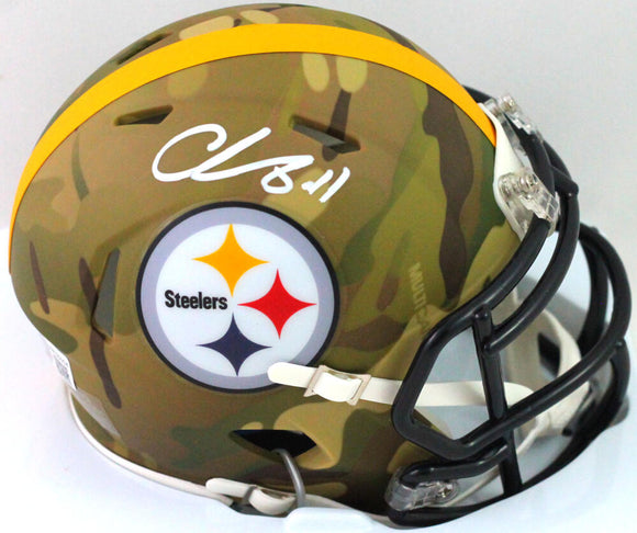Chase Claypool Autographed Pittsburgh Steelers Camo Mini Helmet- Beckett W*White