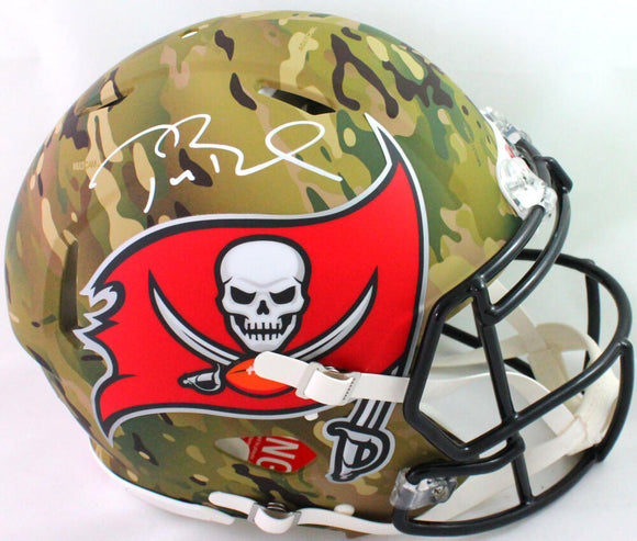 Tom Brady Autographed TB Buccaneers Authentic Camo F/S Helmet- Fanatics/LOA *White
