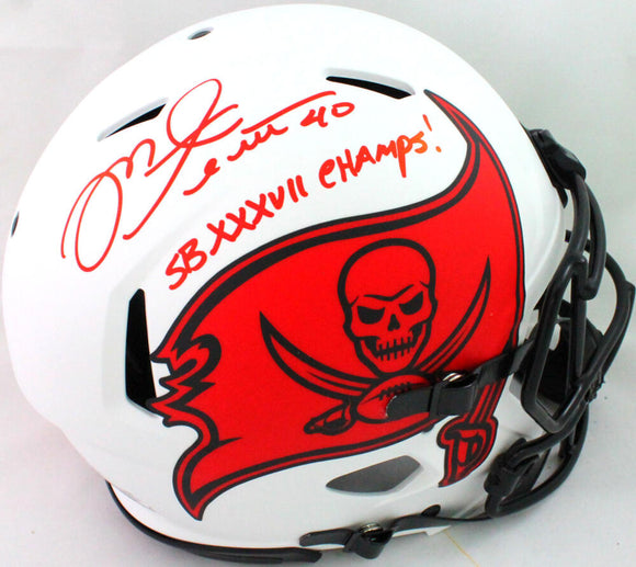 Mike Alstott Autographed Authentic Bucs Lunar Speed F/S Helmet SB- Beckett W*Red