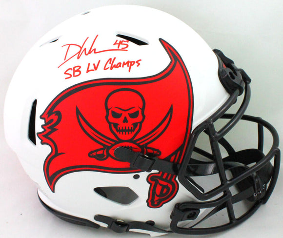 Devin White Signed TB Bucs Authentic Lunar Speed F/S Helmet Insc- Beckett W *Red