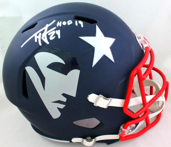 Ty Law Autographed New England Patriots AMP Speed F/S Helmet HOF- Beckett W *Sil
