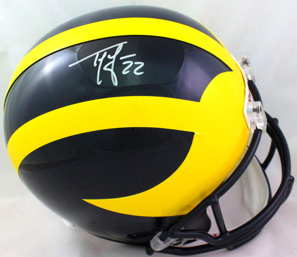 Ty Law Autographed Michigan Wolverines F/S Speed Helmet- Beckett W *Silver