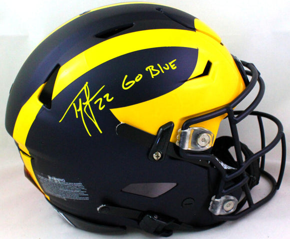Ty Law Autographed Michigan Wolverines FS SpeedFlex Helmet GB- Beckett W *Yellow