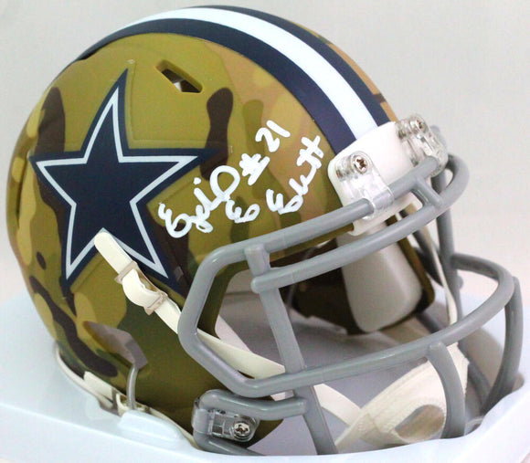 Ezekiel Elliott Autographed Dallas Cowboys Camo Mini Helmet- Beckett W *White