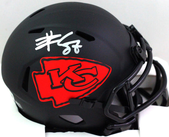 Travis Kelce Autographed KC Chiefs Eclipse Speed Mini Helmet - Beckett W *Silver