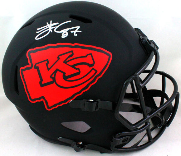 Travis Kelce Autographed KC Chiefs Eclipse Speed F/S Helmet- Beckett W *Silver