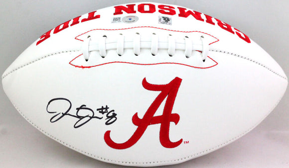 Josh Jacobs Autographed Alabama Crimson Tide Logo Football- Beckett W *Black