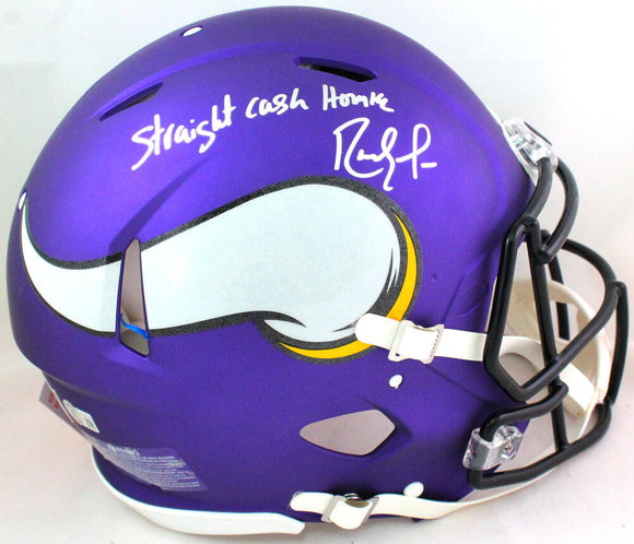 Randy Moss Autographed Vikings F/S Speed Authentic Helmet w/Insc *bottom- Beckett W *Silver