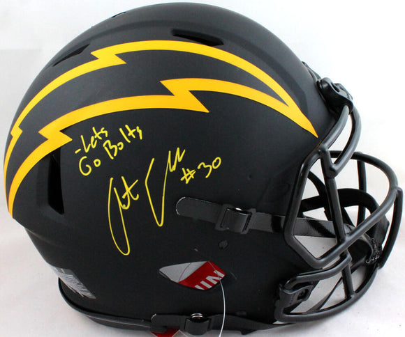 Austin Ekeler Autographed Chargers Authentic Eclipse F/S Helmet w/ Insc- Beckett W *Yellow