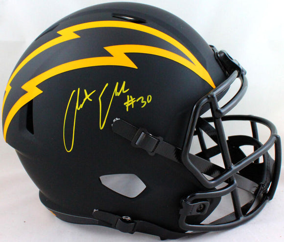 Austin Ekeler Autographed Chargers Eclipse Speed F/S Helmet- Beckett W *Yellow