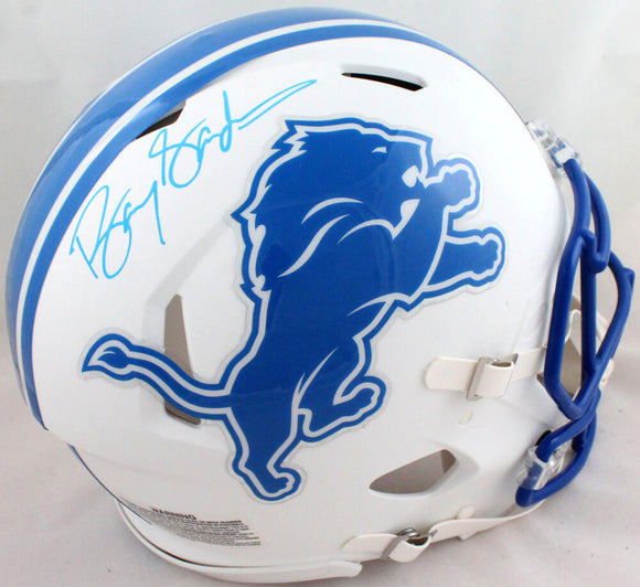 Barry Sanders Autographed Detroit Lions F/S Flat White Authentic Helmet-Beckett *Blue