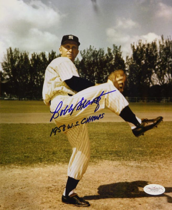 Bobby Shantz WS Champs Autographed 8x10 Pitching Photo- JSA Authenticated