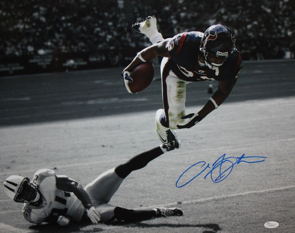 Arian Foster Autographed Texans 16x20 B/W & Color Jump Over Photo- JSA W Auth