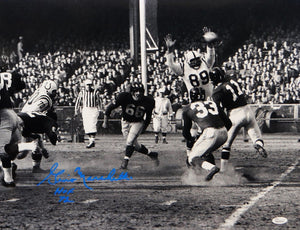 Gino Marchetti Autographed 16x20 B&W Blocking Pass Photo- JSA W Authenticated