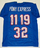 Pony Express Dickerson James McIlhenny Autographed Blue Jersey- JSA W Auth