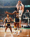 Magic Johnson Autographed Lakers 16x20 In Air Against Larry Bird Photo- PSA/DNA Auth