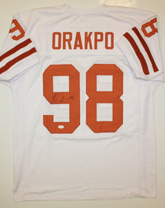 Brian Orakpo Autographed White College Style Jersey- JSA W Authenticated