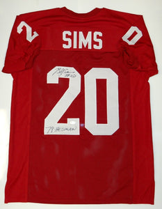 Billy Sims Autographed Maroon College Style Jersey W/ Heisman- JSA W Auth *2TB