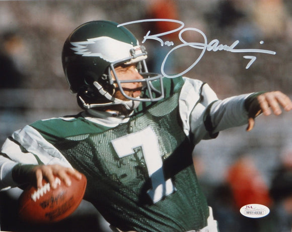 Ron Jaworski Autographed *White Eagles 8x10 Up Close Passing Photo- JSA Auth
