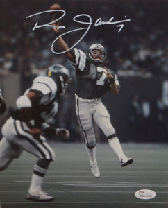 Ron Jaworski Autographed 8x10 Vertical Passing Photo- JSA W Authenticated