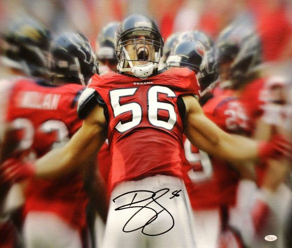 Brian Cushing Autographed 20x24 Yelling Canvas- JSA W Authenticated