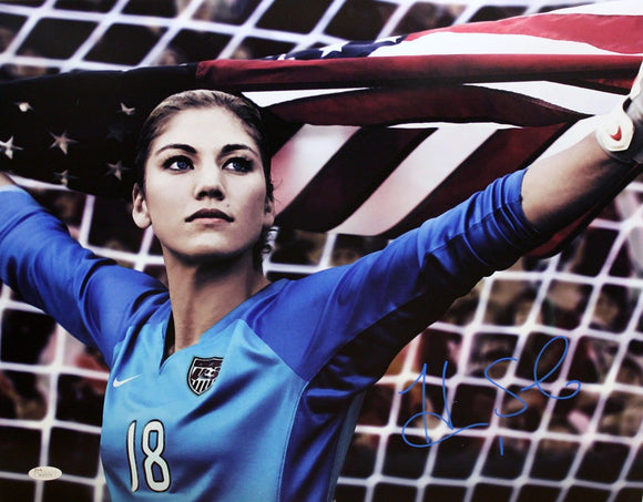 Hope Solo Autographed 16x20 Team USA Holding Flag Photo- JSA W Authenticated