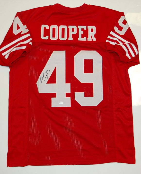 Earl Cooper Autographed Red Pro Style Jersey- JSA W Authenticated