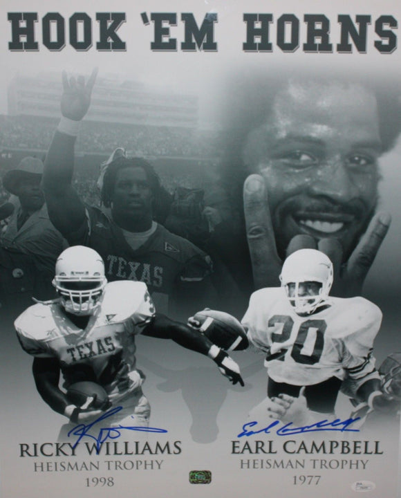 Williams & Campbell Autographed 16x20 B&W Heisman Photo- JSA Authenticated