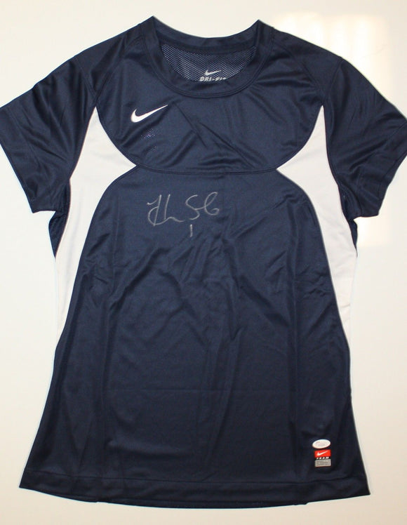 Hope Solo Autographed Nike Dri-Fit Blue Soccer Jersey- JSA W Authenticated