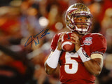 Jameis Winston Autographed 16x20 Looking To Pass Photo- JSA Authenticated