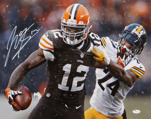 Josh Gordon Autographed 16x20 Stiff Arm Against Steelers Photo- JSA W Auth