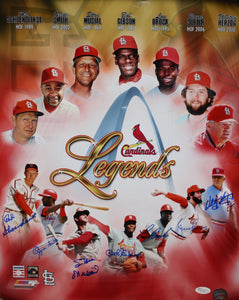 St Louis Cardinals Legends Autographed 16x20 HOFers Photo- JSA Authenticated