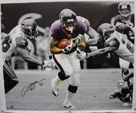 Arian Foster Autographed 20x24 B&W w/ Color Canvas- JSA Authenticated