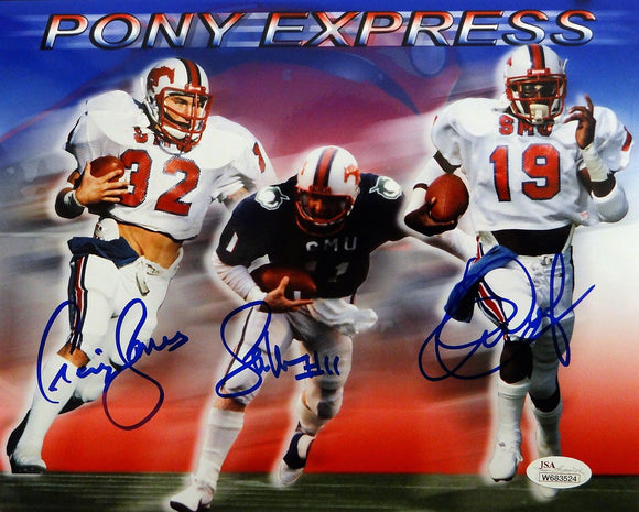 Dickerson McIlhenny James Autographed 8x10 SMU Pony Express Photo- JSA W Auth
