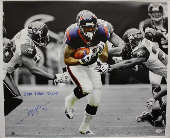 Arian Foster Autographed 20x24 B&W w/ Color Insc Canvas- JSA Authenticated
