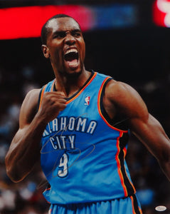 Serge Ibaka Autographed 16x20 OKC Thunder Yelling Photo- JSA Authenticated